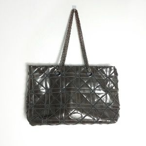 Big Buddha Jerry Tote Brown Geometric Quilted
